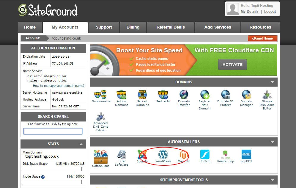 SiteGround Web Site Preferences