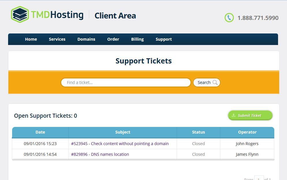 TMD Hosting Ticket system